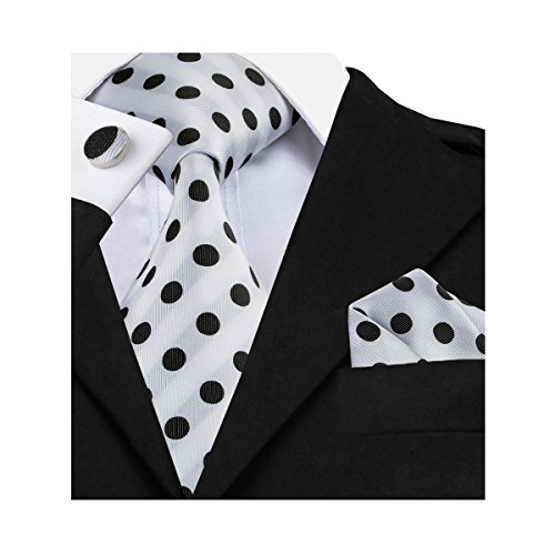 Barry.Wang Retro Black and White Dots Necktie - Polka Retro Dots