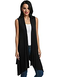 Women's Sleeveless Asymmetric Open Front Drape Cardigan Sweater Vest