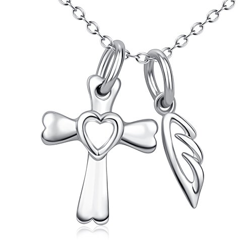 YFN Religious Jewelry S925 Solid Silver Holy Cross With Angel Wing Pendant Necklace Set For Women - Solid Angel Sterling Necklace Silver
