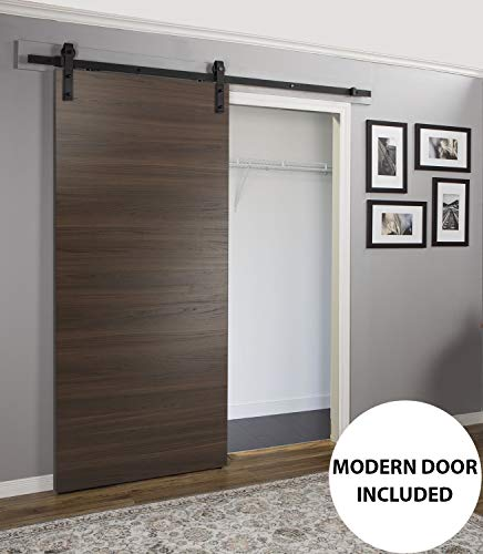 Wood Barn Door 36 x 80 inches with Rail 6.6FT | Planum 0010 Chocolate Ash | Pre-drilled Rail Hangers Floor Guide | Closet Door Solid Core Modern Interior