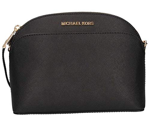 Michael Kors Emmy Saffiano Leather Medium Crossbody Bag (Black Saffiano) (Michael Kors Flache)