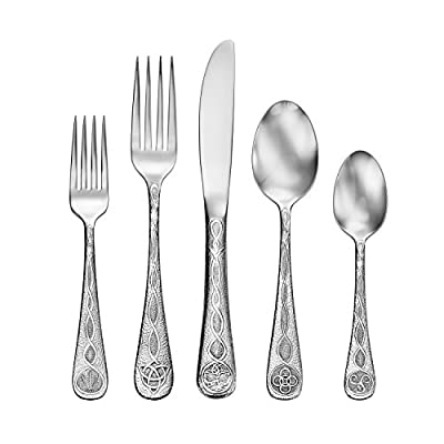 Liberty Tabletop Celtic 65pc Set Service for 12 Made in USA - Finest Quality 18/10 Stainless Steel 100% Made in USA Forged Knife with Serrated Blade - kitchen-tabletop, kitchen-dining-room, flatware - 41kTNqvN7UL. SS400  -
