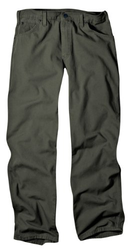 Dickies Men's Relaxed Fit Duck Jean, Moss, - Dress Pants Flannel Lined