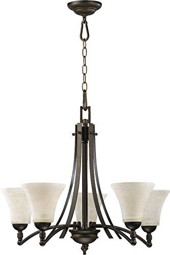 Quorum Lighting 6177-5-86, Aspen Glass 1 Tier Chandelier Lighting, 5 Light, Oiled Bronze