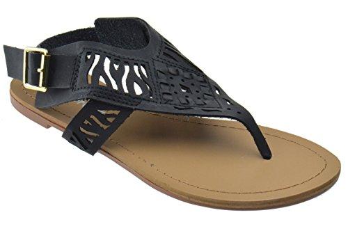 Per Sempre Maliposa 38 Donna Taglio Laser Sandalo Infradito Gladiatore Nero