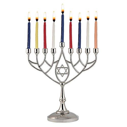 Zion Judaica Hanukkah Value Kit - Full Size Solid Menorah 44 Colored Candles Complete Hanukkah Guide Booklet 6 Colored Dreidels Sack of Milk Belgian Hanukkah Coins Gelt - All Essentials in 1 Box by Zion Judaica Ltd (Image #1)