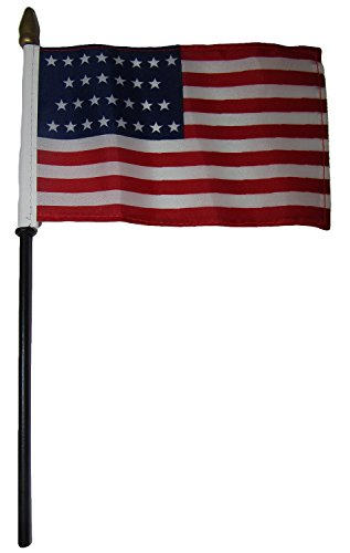 ALBATROS 29 Star USA Linear American 4 inch x 6 inch Flag Desk Set Table Wooden Stick Staff for Home and Parades, Official Party, All Weather Indoors Outdoors ()