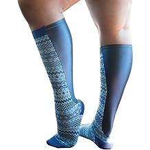Xpandasox Women's Plus Size/Wide Calf Navy Blue/Grey Knee High Socks