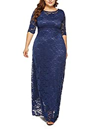 FEOYA Women's Plus Size Lace Scoop Neck 3/4 Sleeve Maxi Dress with Pocket - Evening Wedding Cocktail Party Long Dress