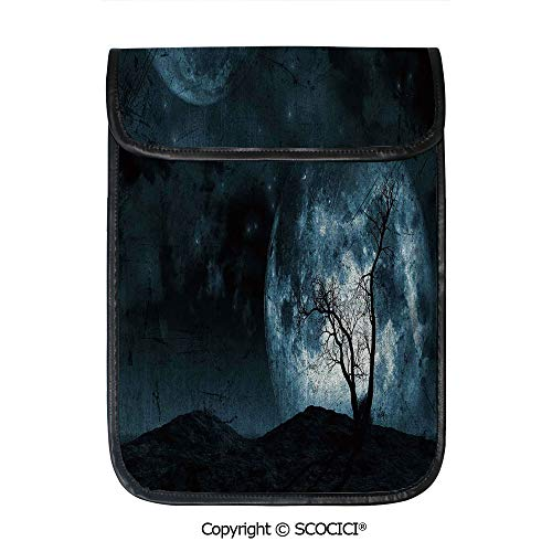 SCOCICI Simple Protective Night Moon Sky with Tree Silhouette Gothic Halloween Colors Scary Artsy Background Pouch Bag Sleeve Case Cover for 12.9 inches Tablets]()