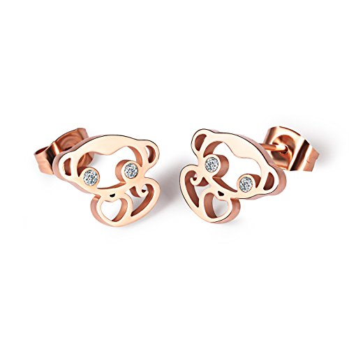 KARMO Cute Rhinestone Lucky Monkey Stud Earring for Men Women Children Kids Rose Gold