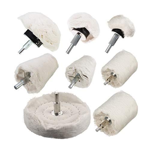 (TONGTU Polishing Wheel - 8Pcs White Flannelette Polishing Wheel Cone/Column/Mushroom/T-Shaped Wheel Grinding Head with 1/4 Handle for Manifold/Aluminum/Stainless Steel/Chrome etc.)