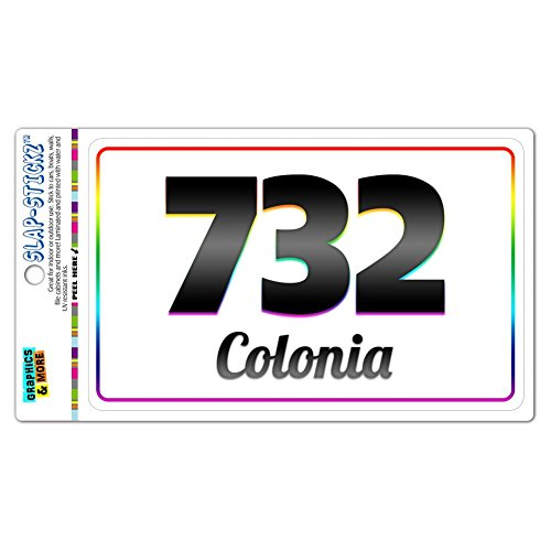 Area Code Rainbow Window Sticker 732 New Jersey NJ Adelphia - Middlesex - Colonia
