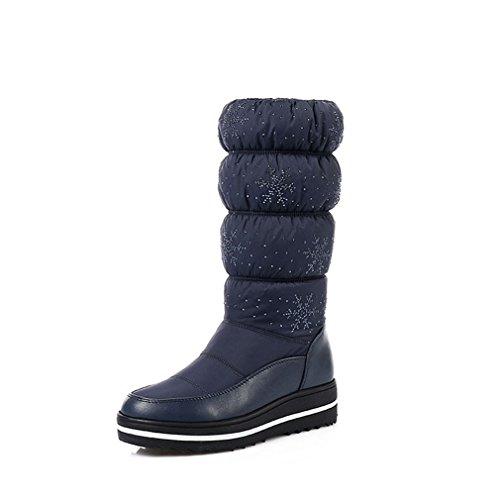 Giy Donna Inverno Metà Polpaccio Alto Impermeabile Stivali Da Neve Rian Foderato Di Pelliccia Moda Elastico Fiori Neve Avvio Blu Scuro