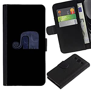 KingStore / Leather Etui en cuir / Samsung Galaxy S3 III I9300 / Elefante divertido minimalista