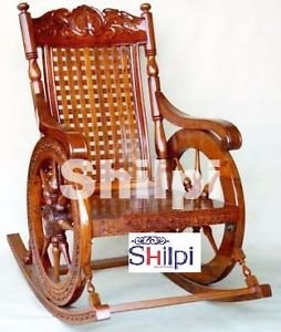 Shilpi Amazing Hand Carved Rocking Chair(Brown) : hand carved rocking chair - Cheerinfomania.Com