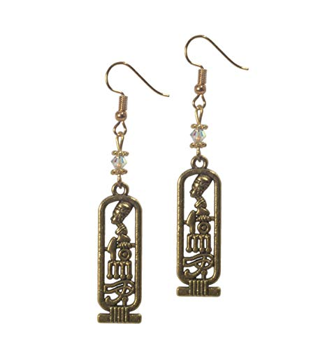 Earrings, Egyptian Cartouche Antique Gold Colored Earrings with Austrian Crystal + FREE GIFT BAG