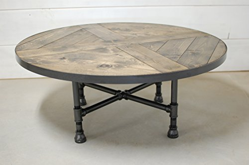 Lodge Pine Coffee Table (Rachela Round Wood Coffee Table with Industrial Pipe Legs)