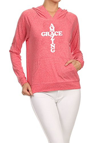 Gs-eagle Women's Amazing Grace Cross Graphic Hoodie Small Coral ()