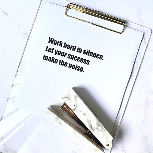 UNIQOOO Thick Clear Acrylic Clipboard with Shinny Gold Finish Clip, Perfect for Modern Arts Lover, Fashion and Style Expert, Calligrapher, Office, Seminars, Workshops, Home school, Classroom and Event Photo #4