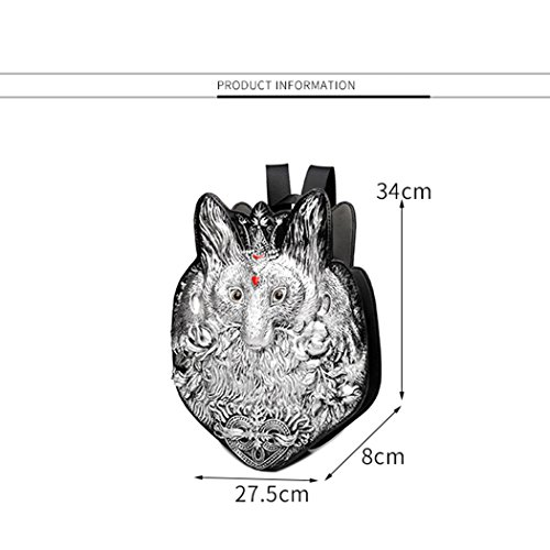 Creativa Zaino Personalità Gold 3D PU Femminile Onesize Fox Ms JUNBOSI Borsa Fashion Shopping Bag Outdoor Animal Trend Silver Viaggi Scuola Cartone Animato Zaino Zaino gRx87w0q