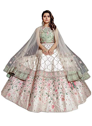 - REKHA Designer White Lehenga Choli Party Wear Lehenga Choli Indian Wedding Wear Lehenga 12