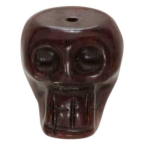 Serpentine Pendant Bead - Brown Jade Serpentine Skull Focal Bead Pendant 20-25mm