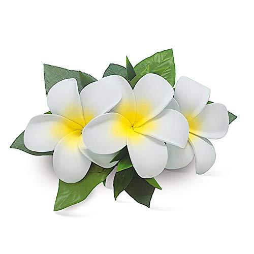 Hawaii Hair Clip Foam Flower Cluster Plumeria White ()