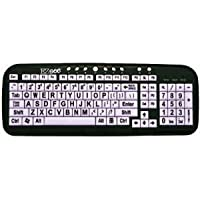 New and Improved EZSee by DC Large Print English QWERTY Keyboard - Vivid Black Letters on White BackGround Keys - Wired USB Connection - For Visually Impaired, Weak Vision in Low Lighted Areas