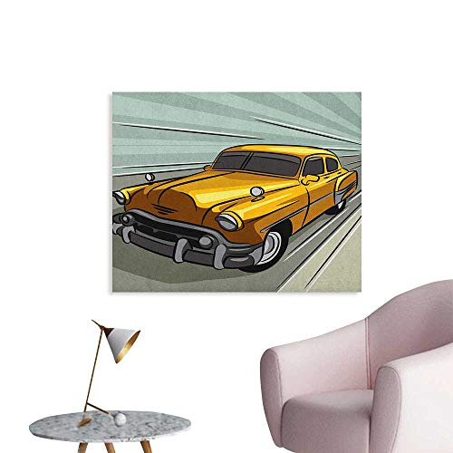 Anzhutwelve Cars Poster Wall Decor Speeding Yellow Vintage Car on Road Fast Vehicle Action Retro Inspired Custom Poster Reseda Green Yellow Gray W36 xL32 ()