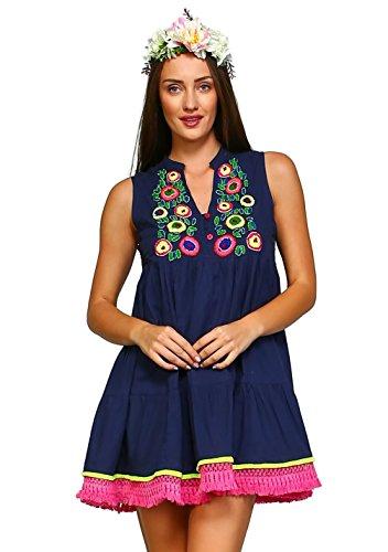 Velzera Women's Embroidered Beaded Fringed Tunic Mini Dress Bohemian (Medium, (Beaded Knit Tunic)