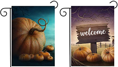 ShineSnow 2 Pack Halloween Seasonal Autumn Pumpkin Mysterious Fantasy Fairy Forest Garden Yard Flag 12