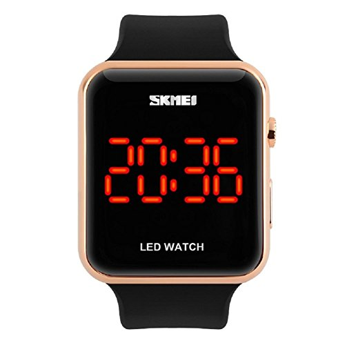 Gosasa Unisex Men's Women Simple Design Square Dial Rubber Band Digital LED Wrist Watch