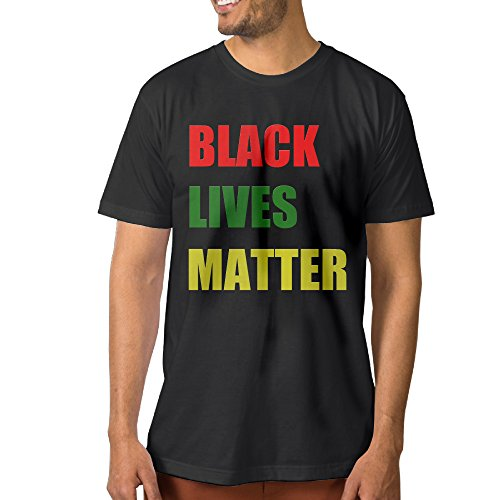 Fashion Men's BLACK LIVES MATTER Short Sleeve Black Size XL