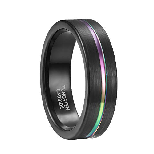 7mm Rainbow Tungsten Wedding Band for Men Women Black Plated Matte Finish Comfort Fit Size 6.5 ()