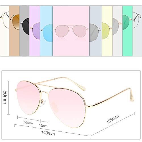 SOJOS Classic Aviator Mirrored Flat Lens Sunglasses Metal Frame with Spring Hinges SJ1030 With Gold Frame/Pink Mirrored Lens by SOJOS (Image #3)