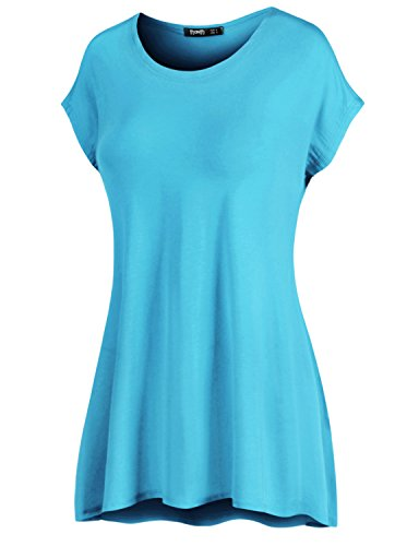 TWINTH Thanth Womens Short Kimono Sleeve Loose-Fit Long Length Tunic Top Cyan XX-Large