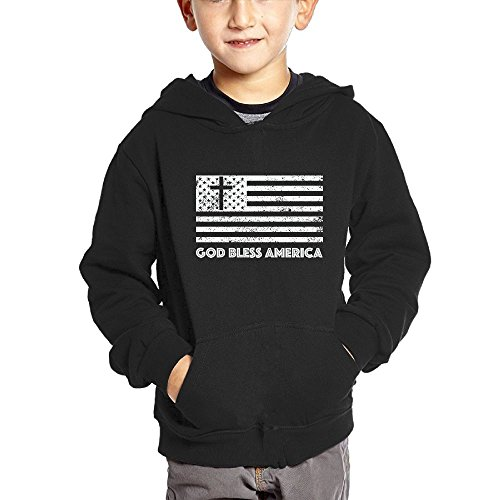 Alma Hoodies God Bless The USA Patriotic 100% Cotton Pullover Hoodies With Pocket For Unisex Childrens/Kids (2-6 Years)