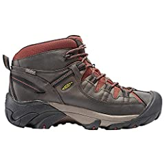 Here's a waterproof hiking boot that offers four-wheel-drive performance for your feet. It's designed to keep your feet dry and let them breathe, and the aggressive outsole bites into the terrain. The mid-cut height adds ankle support.