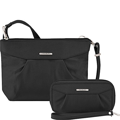 Travelon Anti-Theft Crossbody and RFID Clutch Wallet Set (Black/Dusty