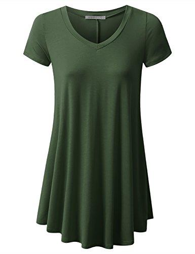 URBANCLEO Womens V-Neck Elong Tunic Top Mini T-Shirt Dress Olive XLarge (Yourself Green T-shirt)