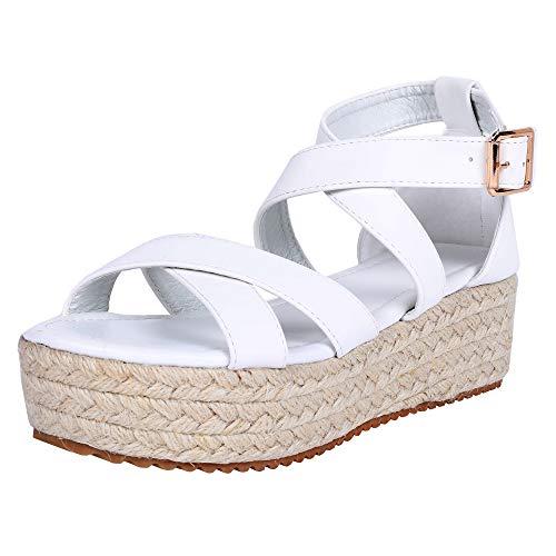 (LAICIGO Women's Casual Summer/Spring Open Toe Espadrille Wedge Sandals)