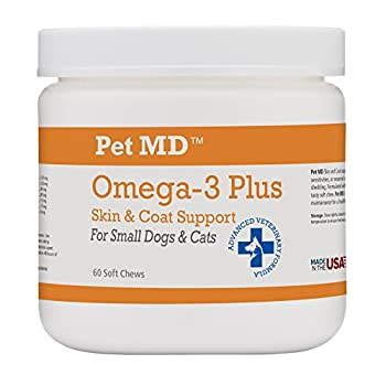 Pet MD Omega-3 Plus supports skin and coat health in dogs and cats with food or environmental sensitivities, or seasonal allergies. Each soft chew contains essential omega 3 and omega 6 fatty acids (EPA, DHA, and GLA) for healthy skin and a g...