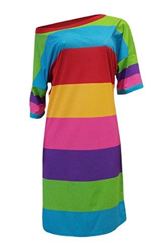 Un Vestito Lato Fessura Clubwear Midi 1/2 Manicotto Dell'arcobaleno Delle Donne Domple Rosa
