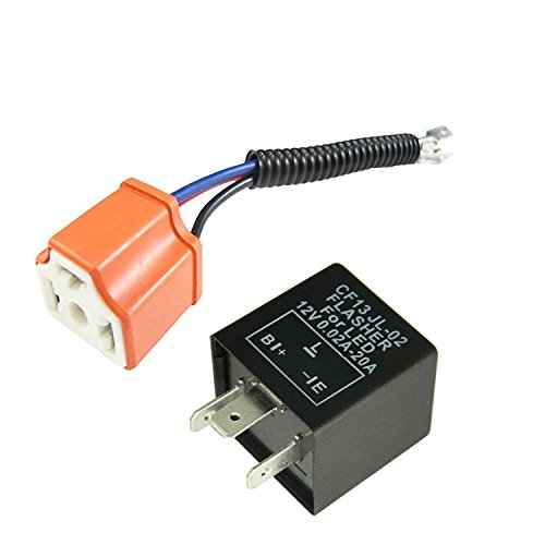 - 3-Pin Car Flasher Relay Fix LED Light Turn Signal Hyper Blink Flash Fix With Conversion Wire CF13 CF14