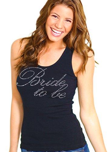 RhinestoneSash.com Women's Cursive Bride to be Rhinestone Tank Top X-Large Black