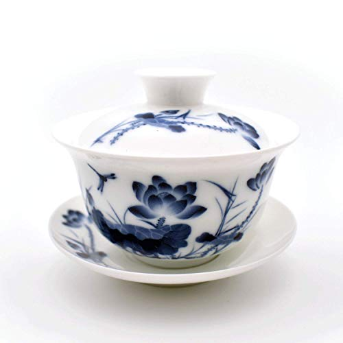 Teacups set,QMFIVE,Chinese Traditional Teaware Blue and White Porcelain Gaiwan Kungfu Tea bowl with Lid and Saucer - ()