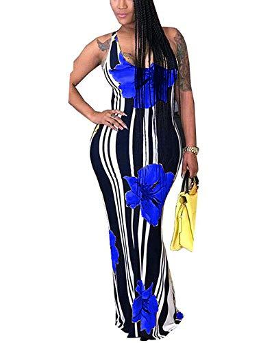 (OLUOLIN Maxi Dress for Wedding Plus Size - Summer Sleeveless Tank Dresses Blue L)