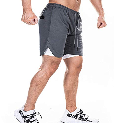 EVERWORTH Mens 2-in-1 Bodybuilding Workout Shorts Lightweight Gym Training Short Running Athletic Jogger with Zipper Pockets