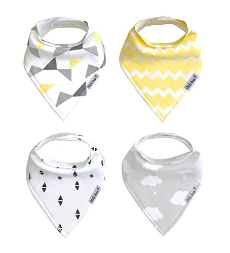 (Organic Drool Bibs Bandana Bibs for Teething, Unisex Baby Bib Gift Set for Boys and Girls by Little Kims - 4-Pack Set (Sweet Dreams))